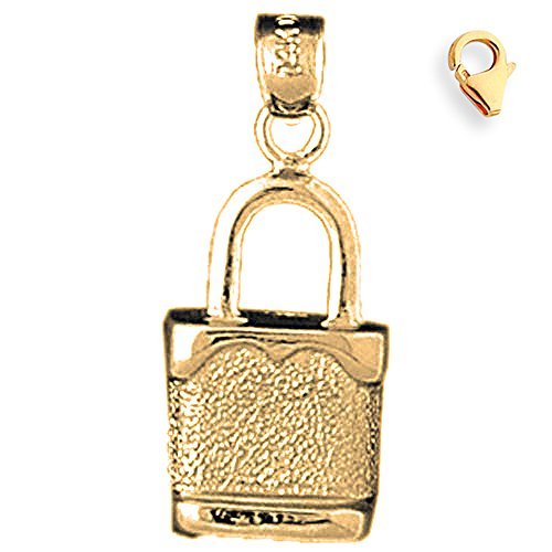 Jewels Obsession Padlock | 14K Yellow Gold Padlock, Lock Charm Pendant - 25mm