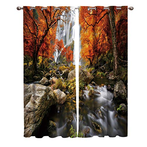 FunDecorArt Blackout Curtains, Clear Waterfalls Birch Woods Polyester Shade Curtains, 2 Panel Drapes/Window Treatment for Bedroom/Living Room/Office/Teen Room, 104 W x 52 L inches ()