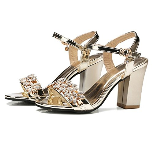 Shoes Toe Rhinestone High Buckle Wedding Party Block Heel Sandals Gold Evening Mid Women's Dress Bride Open q045AwxXW6