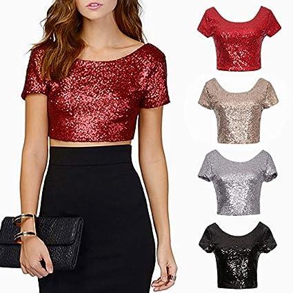 Amazon.com  Leijing Women Sexy Sequins Crop Tops T Shirts Summer Shirt  Short Sleeve Tee Top Blouse Gold L  Home   Kitchen