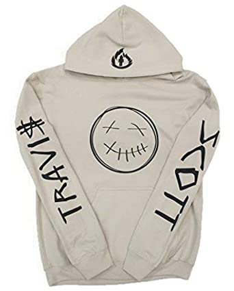 084ede34a5df Amazon.com: Travis Scott Sand Hoodie, Rodeo Merch,Travis Scott Merch (Black  Smiley Face Logo and Flame Logo on Hood with Name on Arms): Clothing