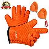 Silicone Grilling Gloves - Best Heat Resistant Oven Mitts For Cooking, Baking, BBQ & Boiling Non-Slip Potholders with Internal Cotton Layer - Includes Mini Oven Mitt (Orange)