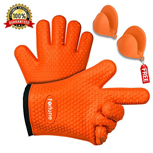 BBQ Grilling Gloves - Best Heat Resistant Oven Mitts For Cooking, Baking & Boiling - Safely Holds Hot Pots and Pans - Non-Slip Potholders with Internal Cotton Layer - Includes Mini Oven Mitt