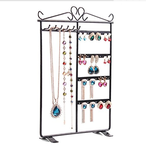 Cupcinu 6 Hooks 36 Holes Earring Display Stands Necklace Organizer Stand Earring Holder Ear Stud Storage Shelf Jewelry Stand Display Rack with Alloy 1pcs