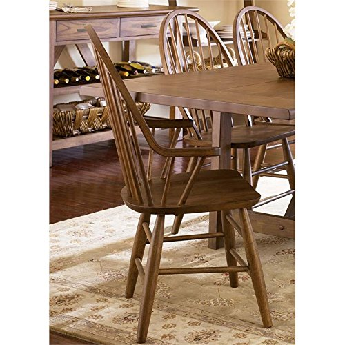 - Liberty Furniture Farmhouse Windsor Back Dining Arm Chair in Oak