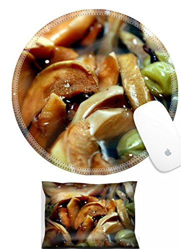 Luxlady Mouse Wrist Rest and Round Mousepad Set, 2pc Background with compote from dried apples and a gooseberry A theme of preparation of meal IMAGE: 8094271 (Compote Round)
