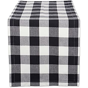 """DII Cotton Buffalo Check Table Runner for Family Dinners or Gatherings, Indoor or Outdoor Parties, & Everyday Use (14x108"""",  Seats 8-10 People), Black & White"""