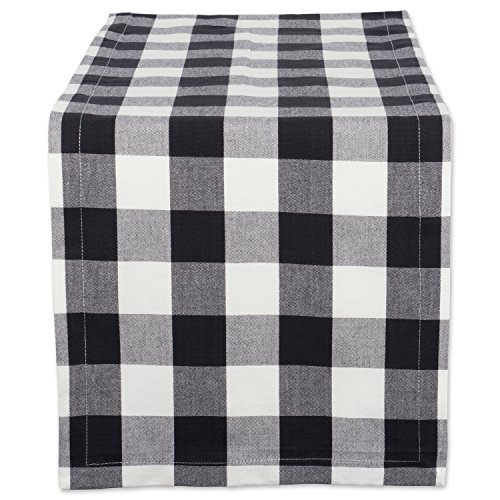 "DII Cotton Buffalo Check Table Runner for Family Dinners or Gatherings, Indoor or Outdoor Parties, & Everyday Use (14x108"",  Seats 8-10 People), Black & White"