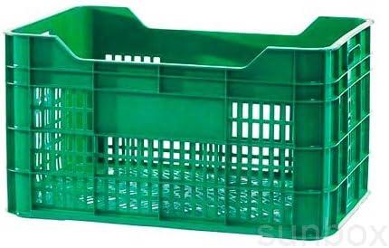Caja/cubeta rejada de plastico apilable para fruta y verdura (600x400x320mm, Verde): Amazon.es: Bricolaje y herramientas