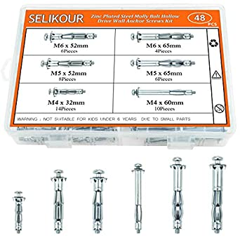 Hollow Wall Anchor Screws Set, 6 Sizes Heavy Duty Zinc Plated Steel