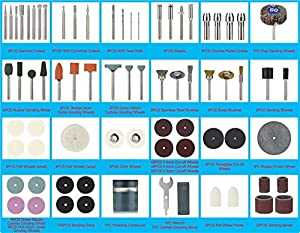 Swordfish 10008-349pc Rotary Tool Accessories Kit for Cutting Grinding Sanding Sharpening Carving Polishing, total 349 pieces