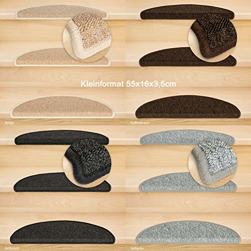 Kettelservice-Metzker® Stufenmatten Rambo Kleinformat 55x16x3,5cm Halbrund, inkl. Fleckentferner, Grau 14 Stück
