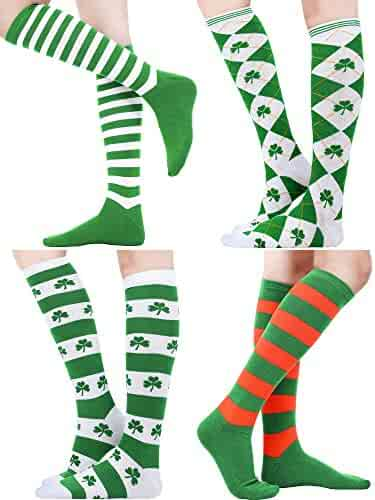 3813ca86e Blulu 4 Pairs St. Patrick s Day Knee Socks Shamrock Striped Thigh High  Stocking for Costume