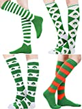 Blulu 4 Pairs St. Patrick's Day Knee Socks Shamrock Striped Thigh High Stocking for Costume Party Accessories, 4 Styles (Style Set 1)