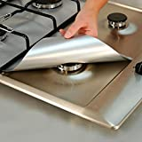 Wuudi 4-Pack Reusable Stove Burner Covers Non-stick Cuttable Protectors for Gas Range Stove Burners in Different Sizes