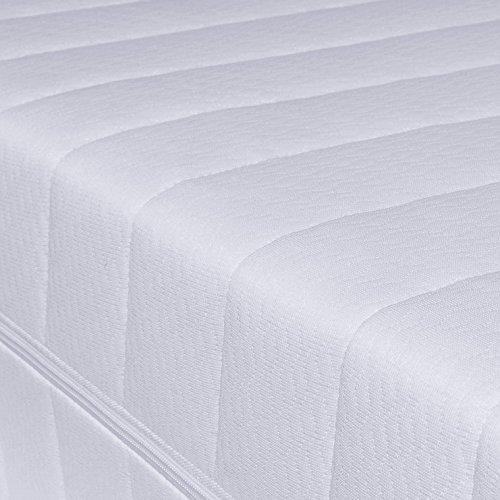 7-Zonen Härtegrad H2 H3 (Weiß) Matratze, Orthopädische Kaltschaummatratze, Rollmatratze, Öko-Tex, Bezug waschbar, 4-Seiten-Reißverschluss (120 x 200 cm)