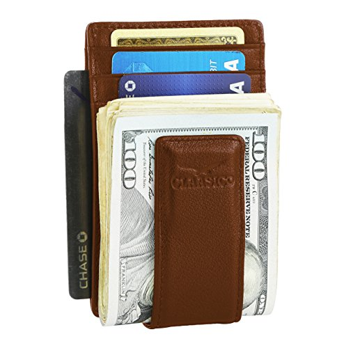 Money Clip Leather Wallet For Men Slim Front Pocket RFID Blocking Card Holder With Super Strong Magnetic (Tan)