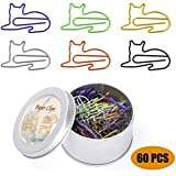 Paper Clips, Cute Cat Shaped Clips, Office Supplies Clips Assorted Colors, Funny Paper Clips for Teacher Notebook Bookmark Decoration,Cat Lover Gifts for Women(60PCS)