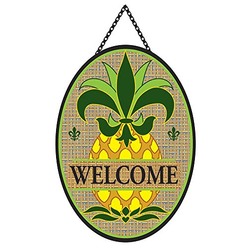 Welcome Fleur de Lis Pineapple on Burlap 18 x 13 Oval Chain Rope Door Banner -