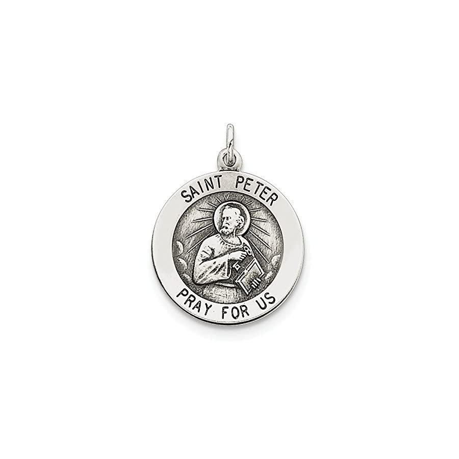 Sterling Silver Engravable Antiqued Saint Peter Medal