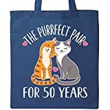 Inktastic - 50th Anniversary Gift Cat Couples Tote Bag Royal Blue