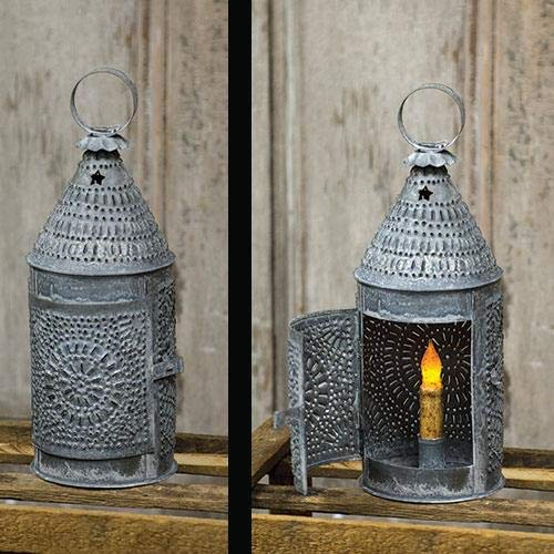 (Weathered Zinc Punched Tin Baker's Lantern, Country Candle Holder )