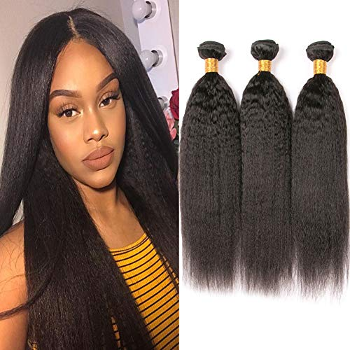BK Beckoning Light Yaki Straight Brazilian Hair Bundles 100% Long Human Hair Weaves 20 22 24 Inches Kinky Straight Bundles Natural Colour Can Be Dyed