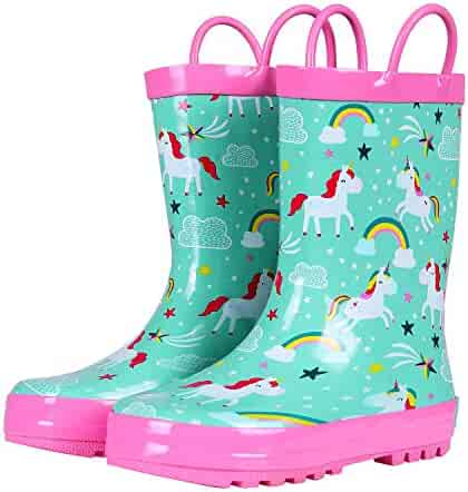 Rain Boots Girls Boys Durable PVC /& Rubber Kids Waterproof Shoes MINIRAH