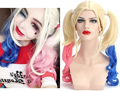 Sarla Cosplay Wig Synthetic Costume Party Halloween Women Gril Short Ombre Blonde Full Hair Wigs Harley Quinn Pink Blue Amazon Ae