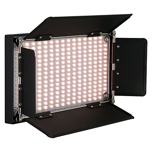 Fotodiox Pro LED-508AS, Professional 508 LED Dimmable, Dual Color Photo/Video Light Kit with included Barndoors, Bi-Color Control, Removable Diffusion Panel, Batteries and Charger by Fotodiox