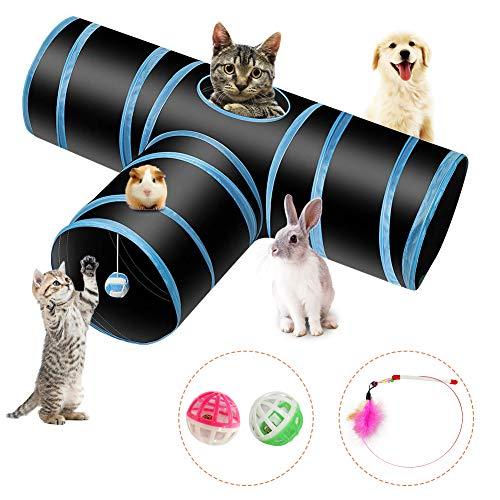 PHYLES Katzenspielzeug Katzentunnel, Ball Cat Tunnel Haustier Tunnel Spieltunnel 3-Wege Pet Play Tunnel Tube Katzen…