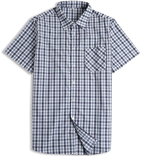 Hopioneer Men's Short Sleeve Button Down Shirt 100% Cotton Casual Plaid Button up Shirt Relaxed Fit (Large, Blue) (Front Gingham Shirt)