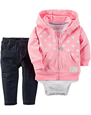Carters Baby Clothing Outfit Girls 3-Piece Cardigan Set /White Dot