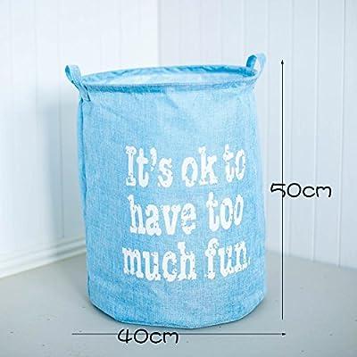 Luckyfree Panier à linge en coton d'vêtements sales jouets Panier Panier de rangement, snack-Débris 40 * 50cm Bleu