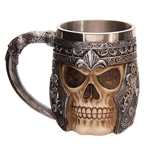 Agile-shop Stainless Steel Skull Mug 3D Design Creepy Skull Coffee Mug Skeleton Tankard Cup