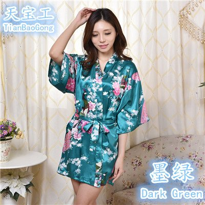 Wanglele La Primavera Y El Verano Batas Kimono Kimono De Seda De Una Sola Pieza Vestido