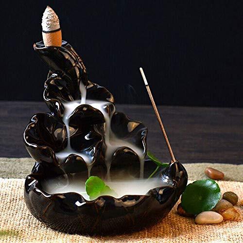 (Panpob68 Black Porcelain Backflow Ceramic Incense Burner Holder Buddhist Cones Home)
