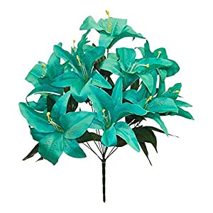 Beautiful 12 Tiger Lilies Lily Teal Green Silk Wedding Flowers Bridal Bouquets Centerpiece 84