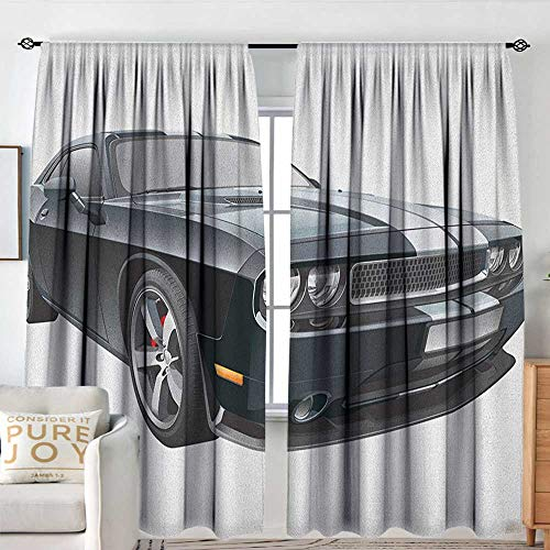 Bedroom Blackout Curtain Panels Cars,Black Modern Pony Car with White Racing Stripes Coupe Sports Dragster Print, Black Grey White,All Season Thermal Insulated Solid Room Drapes 60