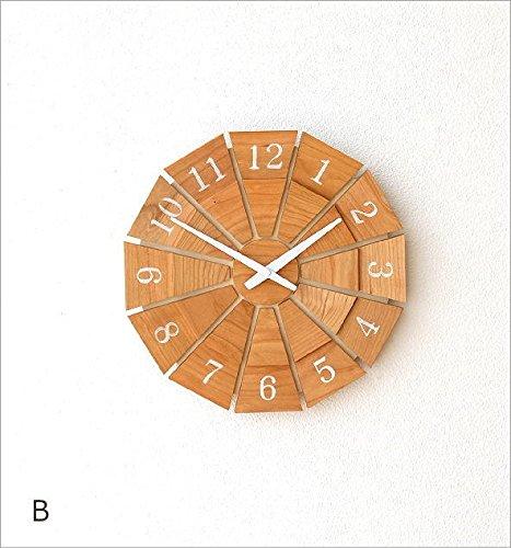 掛け時計 木製 おしゃれ 天然木 無垢 日本製 ウォールナット チェリー ウォールクロック ウッド壁掛け時計SUN M [kch4333] (B) B0785P6W8ZB