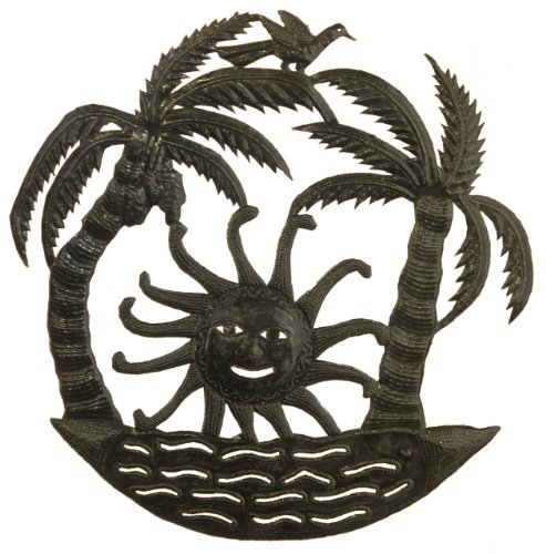 Le Primitif Galleries Haitian Recycled Steel Oil Drum Outdoor Decor, 23 by 23-Inch, Double Palms with Rising Sun