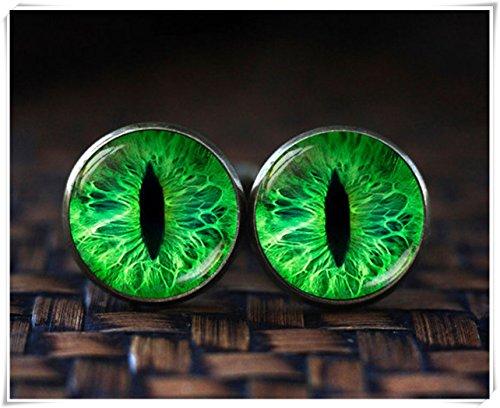 (no see long time Green cat eye cufflinks,Green cufflinks,Cat cufflinks,Dome glass jewelry, pure handmade )