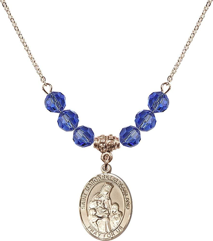 Bonyak Jewelry 18 Inch Hamilton Gold Plated Necklace w// 6mm Blue September Birth Month Stone Beads and Saint Margaret of Scotland
