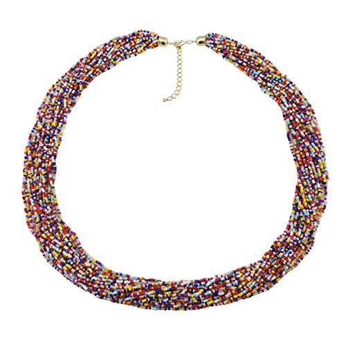 Multi Color Multi Row Necklace - Bocar Long Multiple Row Handmade Beaded Statement 33