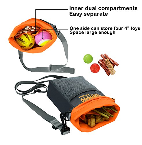 519gkcIAeiL - Hero Dog Treat Training Pouch Bag(Small Large Pets) - Dual Compartments Carry Toy Kibble,Treats - with Poop Bag,Collapsible Bowl - Build-in Waste Bag Dispenser Grey