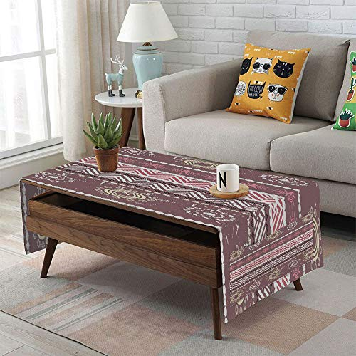 iPrint Linen Blend Tablecloth,Side Pocket Design,Rectangular Coffee Table Pad,Zambia,Antique African Traditional in Earthen Tones with Sun Figures Boho Pattern,Dried Rose Yellow,for Home Decor