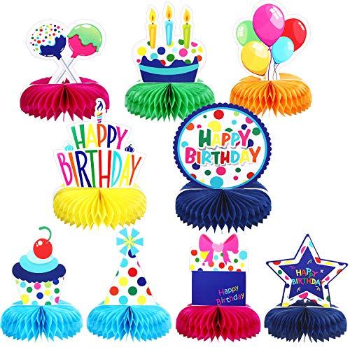 9 Piezas Decoraciones Coloridas de Feliz Cumpleanos Centros de Mesa de Bolas de Panal Arcoiris Topper de Mesa Pompones de Cumpleanos para Fiesta de Cumpleanos de Ninos Baby Shower