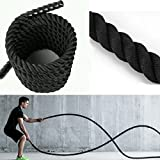 Exercise Training Ropes - Strength and Core Traning -Anchor Strap Kit for Battle Rope Undulation Rope Fitness Training by Namee (7/5 Inch x 30 Feet, Black)