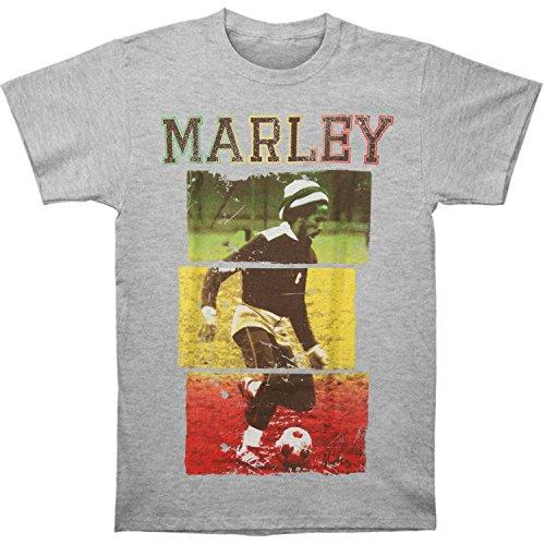 Bob Marley Football - Bob Marley Rasta Football Slub Mens Grey T Shirt: Medium