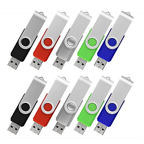 Keathy 10 Pack 4GB USB 2.0 Flash Drive Memory Stick Thumb Drives Pen Drive Jump Drive Zip Drive 5 Color (Black Red Silver Green Blue)